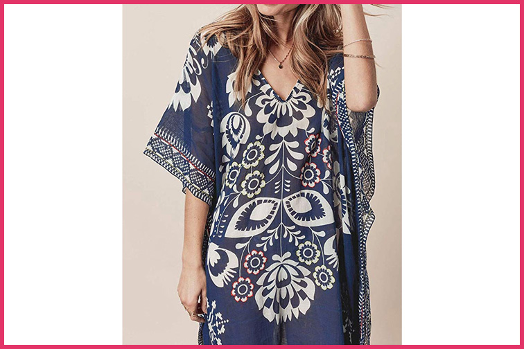 ilunsnika Women Loose Kaftan Swimsuit Cover Up and Long Casual Caftan Dress; Courtesy of Amazon