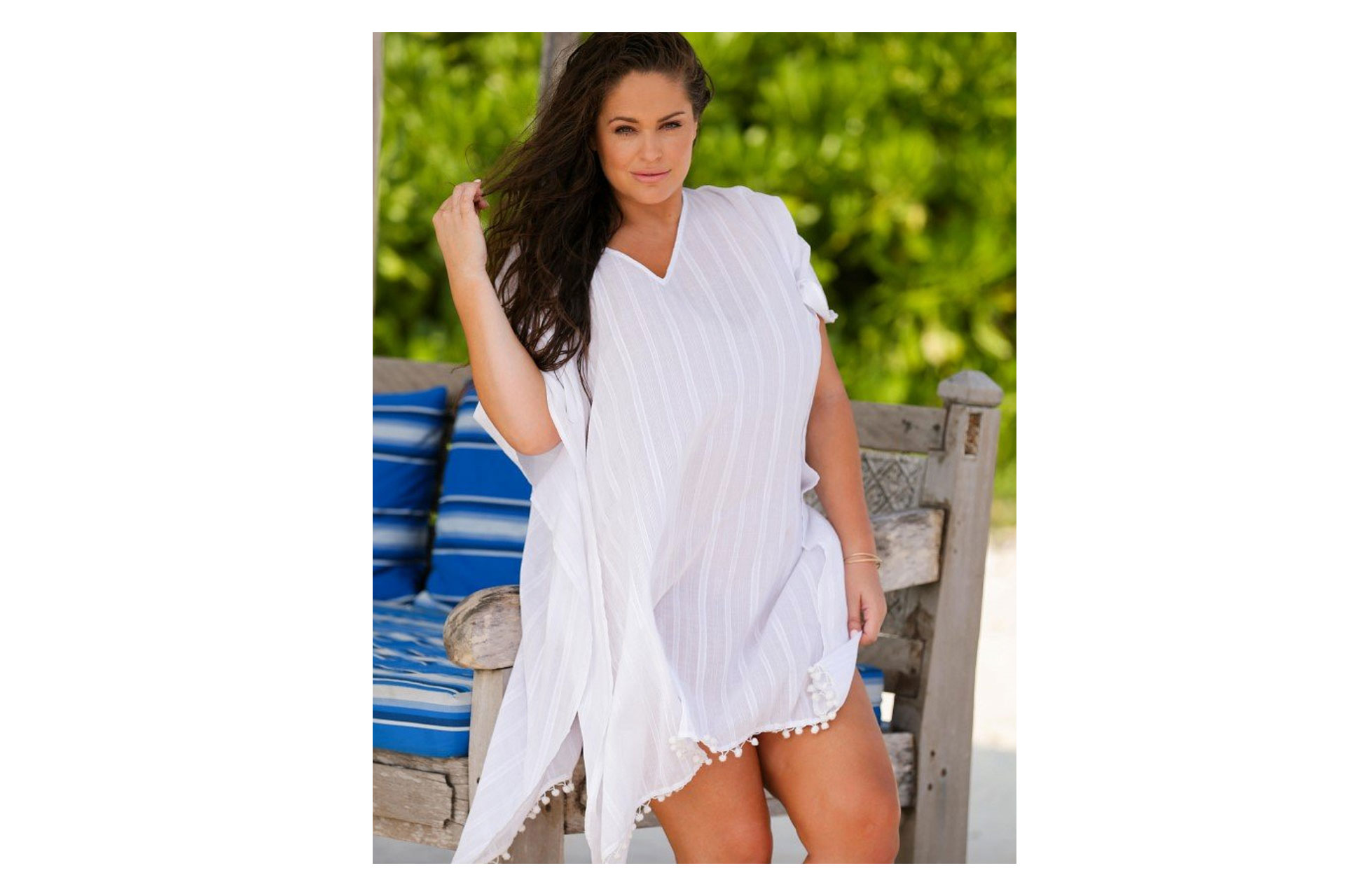 Curvy Swimwear's White Cotton Kaftan; Courtesy of Curvy Swimwear