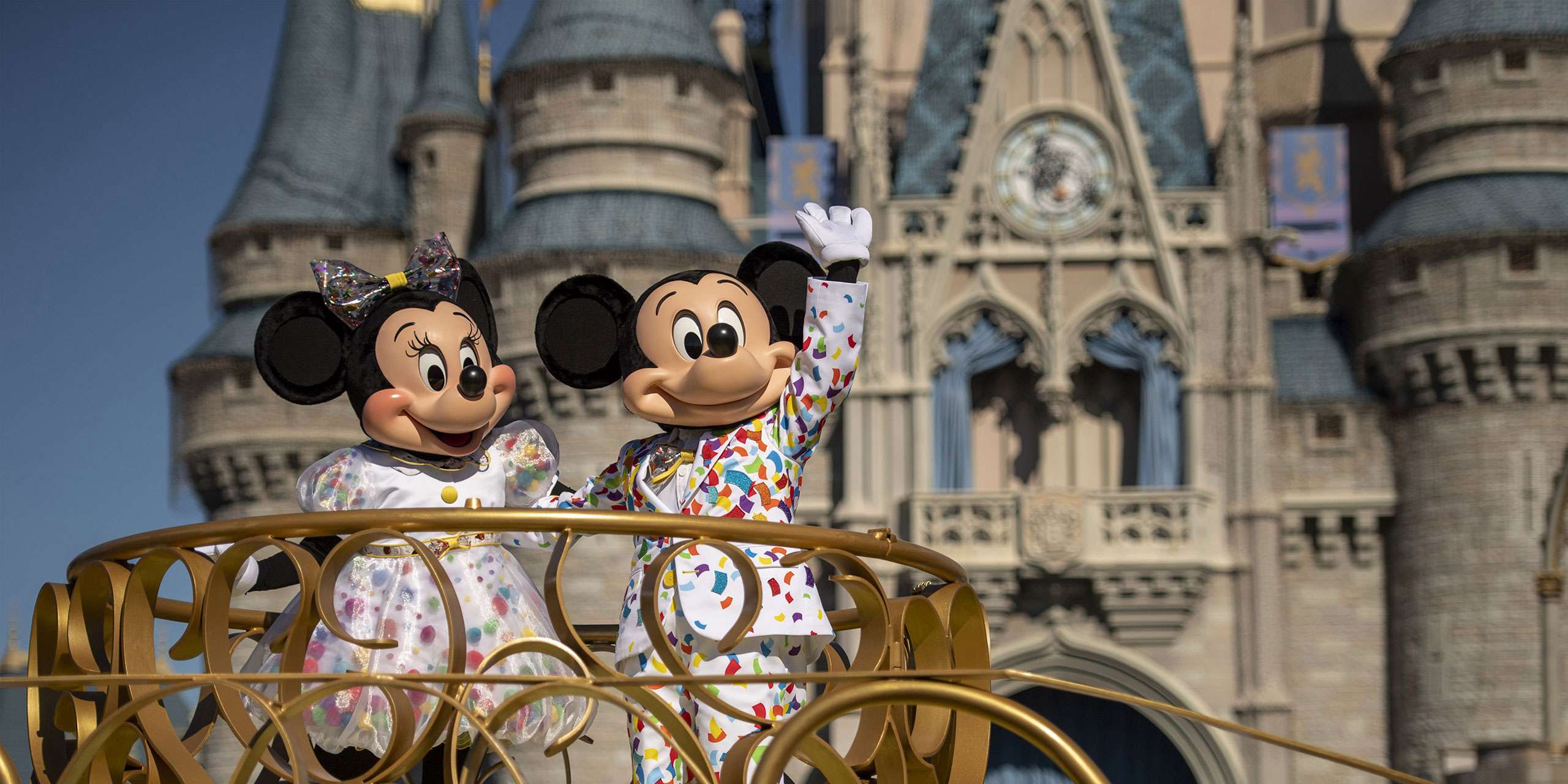 Mickey and Minnie at the Magic Kingdom in Disney World; Courtesy of Disney