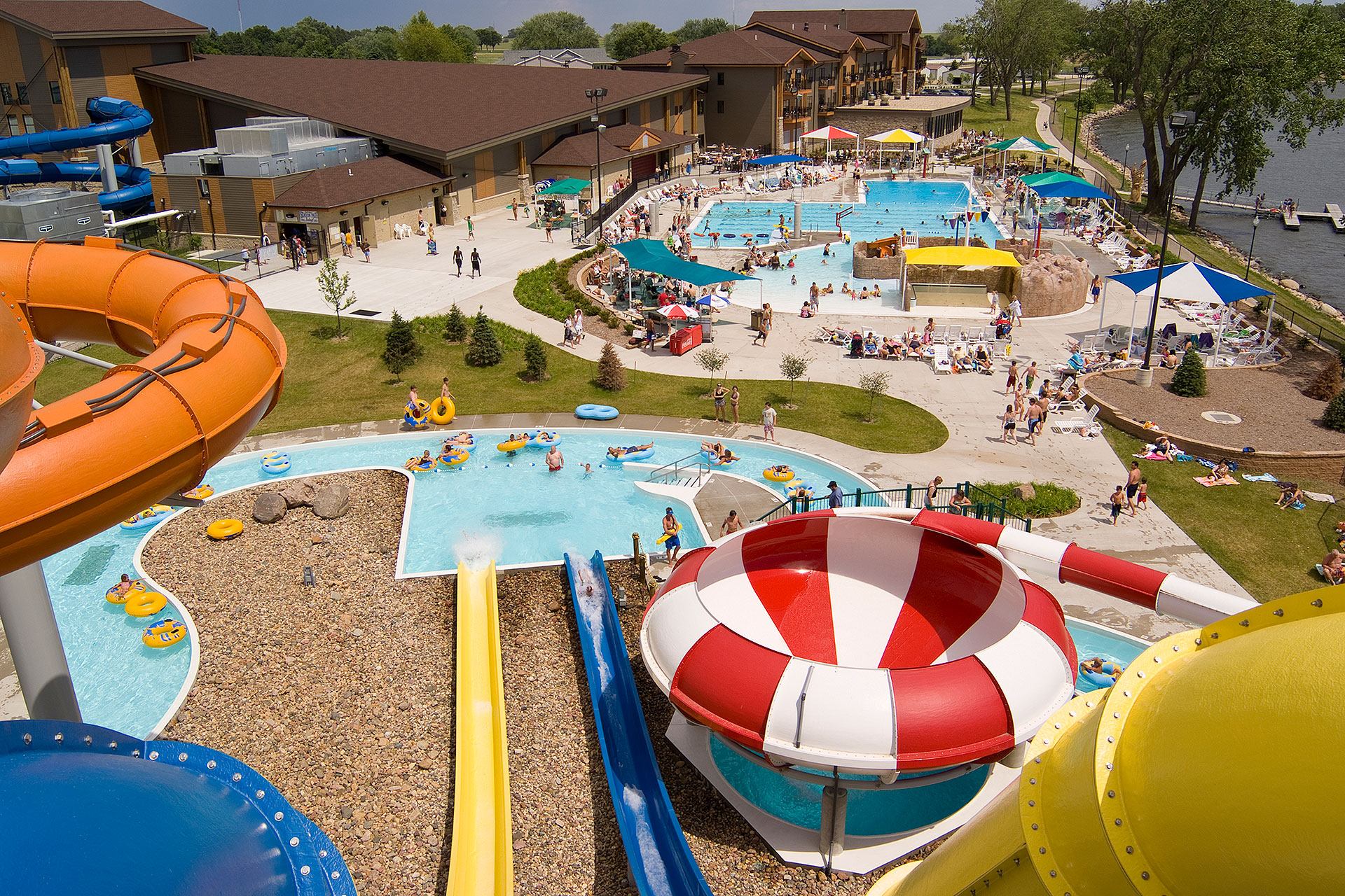 Outdoor Water Park at King's Pointe Resort in Storm Lake, Iowa; Courtesy of King's Pointe Resort