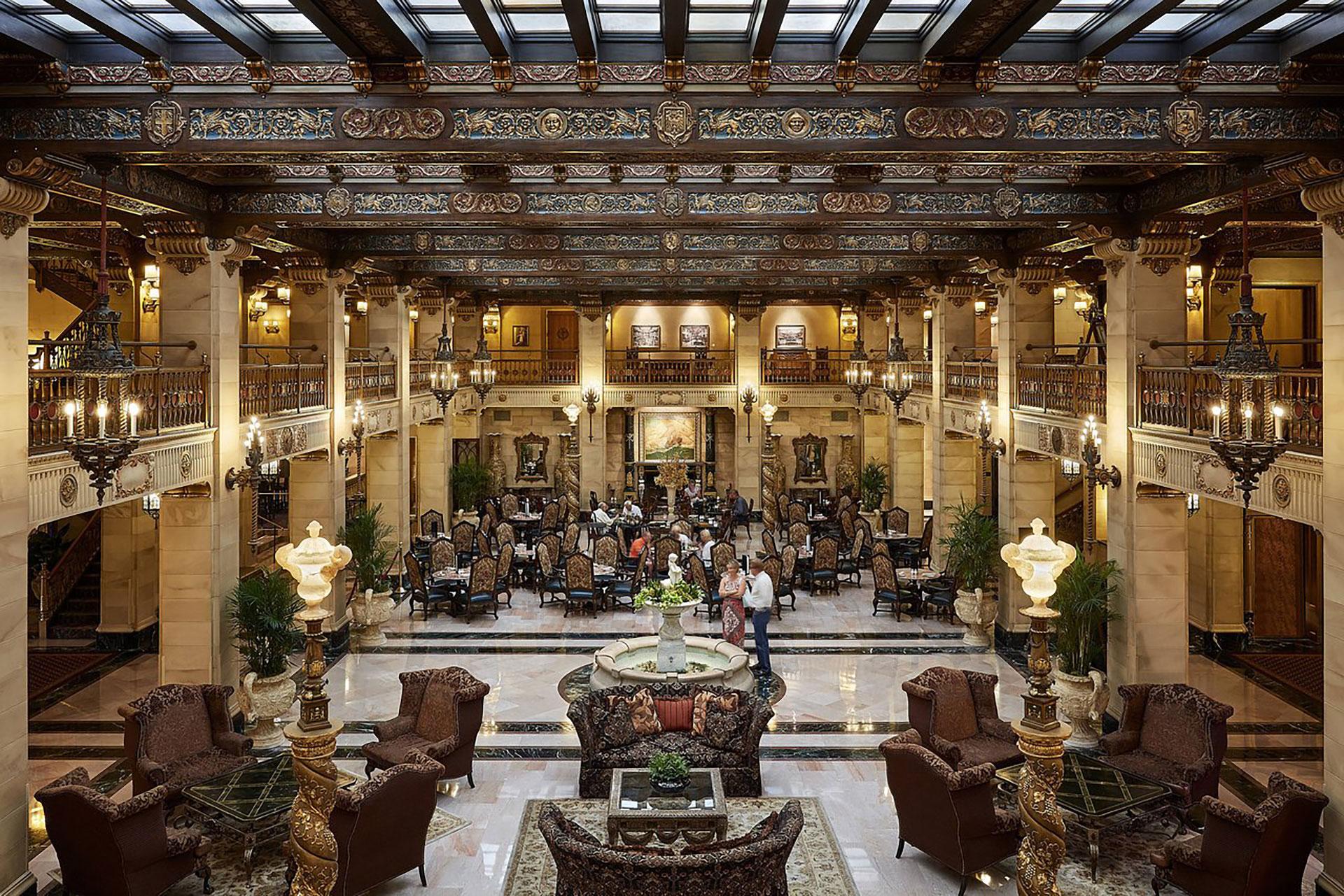 Lobby at The Historic Davenport Hotel; Courtesy of The Historic Davenport Hotel