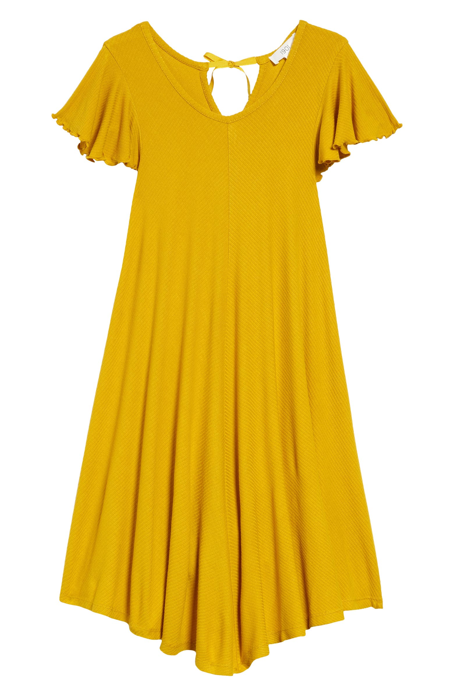 Kids' yellow flutter-sleeve dress