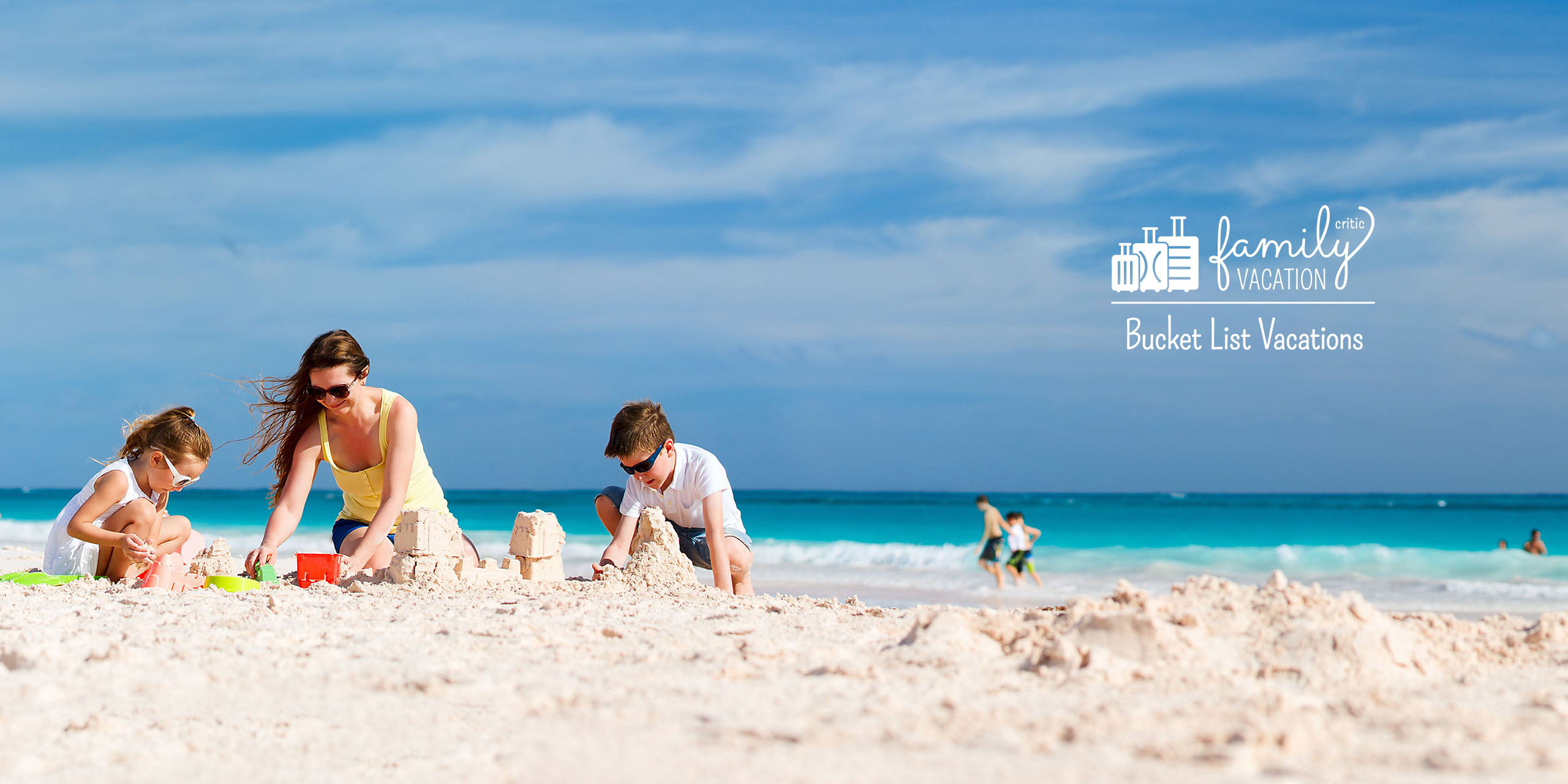 Mom and Kids on Beach; Courtesy of BlueOrange Studio/Shutterstock.com