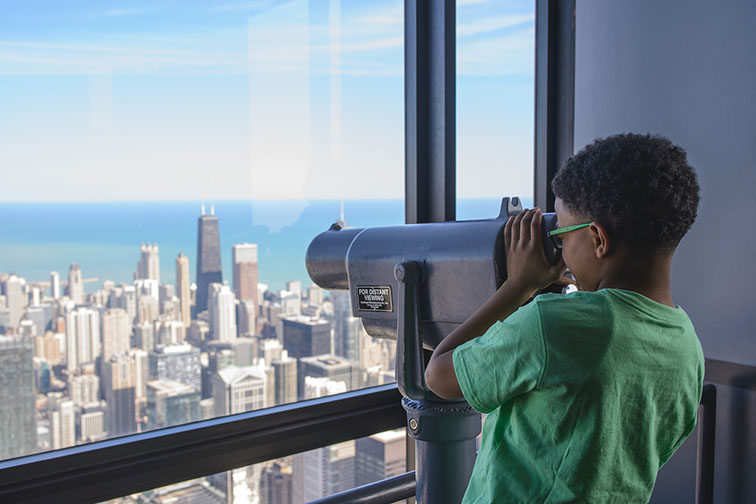 Young Boy at Skydeck Chicago