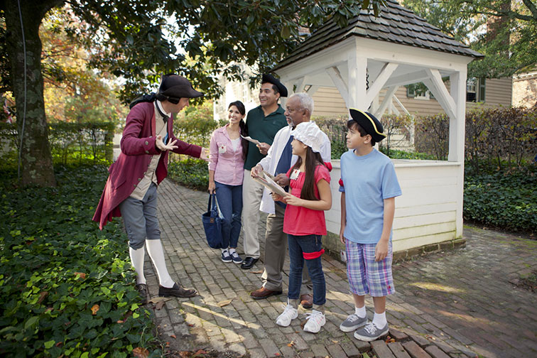 Family in Colonial Williamsburg in Virginia