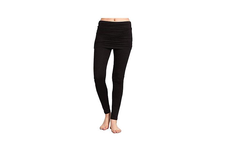 HEYHUN Women's Athleisure Ultra Soft Knit Foldover Ruched Skirted Yoga Leggings