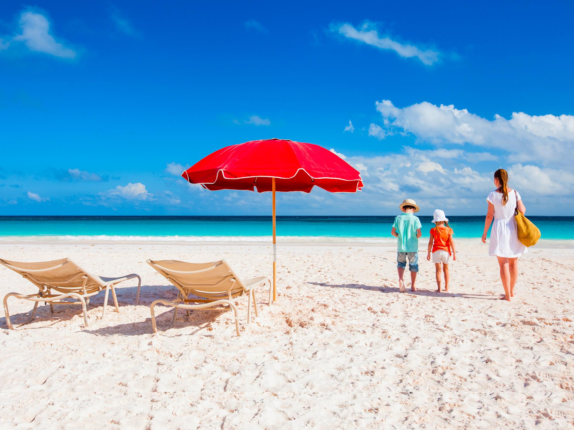 beach umbrella family