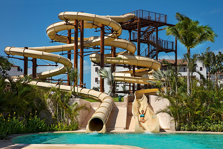 Waterslide at Dreams Playa Mujeres Golf & Spa Resort; Courtesy of Dreams Playa Mujeres Golf & Spa Resort