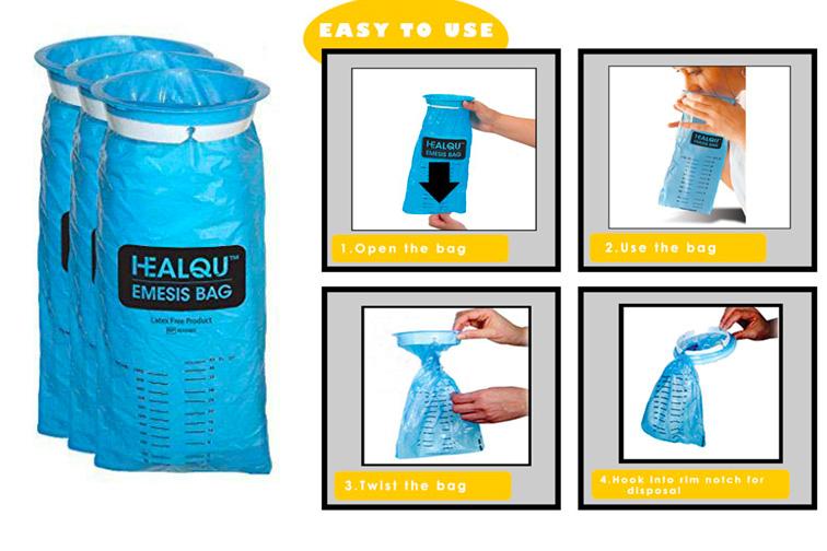 HEALQU Blue Emesis Bag; Courtesy of Amazon