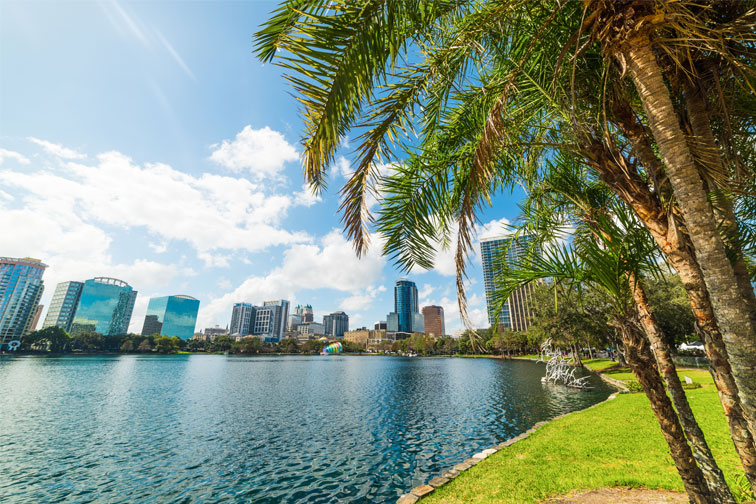 Lake Eola Park in Orlando, Florida; Courtesy of Gabriele Maltinti/Shutterstock.com