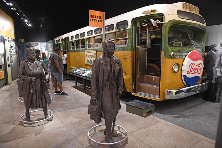 Bus display at Rosa Parks exhibit as part of the National Civil Rights Museum; Courtesy of Gino Santa Maria/Shutterstock
