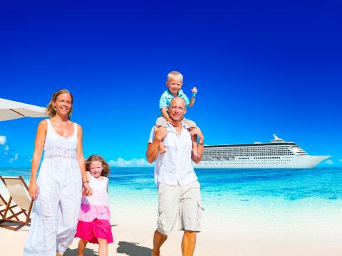 family cruise beach