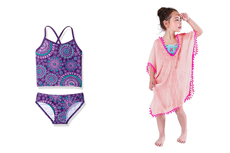 Purple Bathing Suit and Kids' Beach Cover Up; Courtesy of Amazon