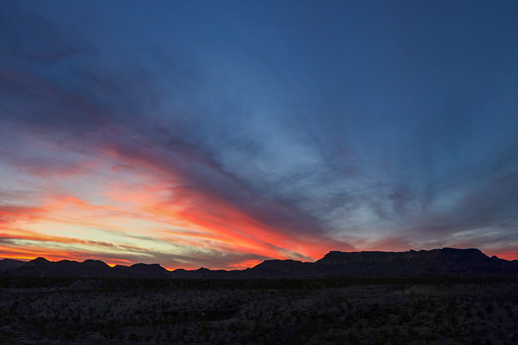 Sunset at West Contrabando Trailhead in Big Bend Ranch State Park Texas; Courtesy of Lisa Parsons/Shutterstock