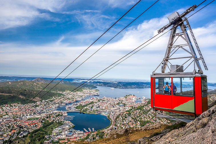Ulriken Cable Railway in Bergen, Norway