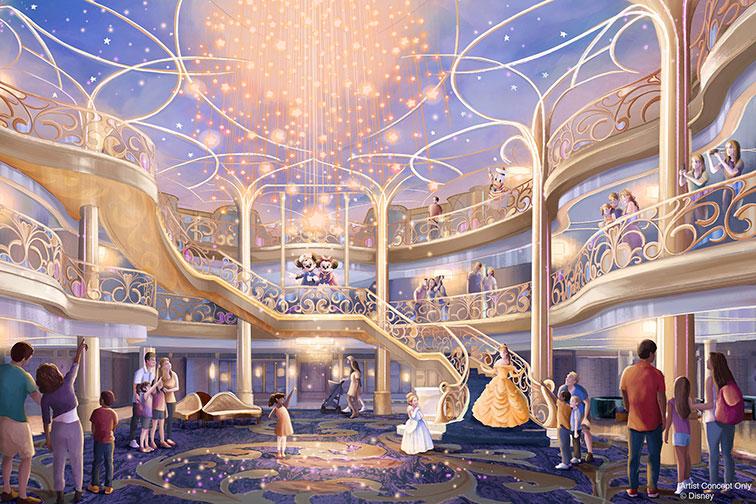 Rendering of Atrium on Disney Wish