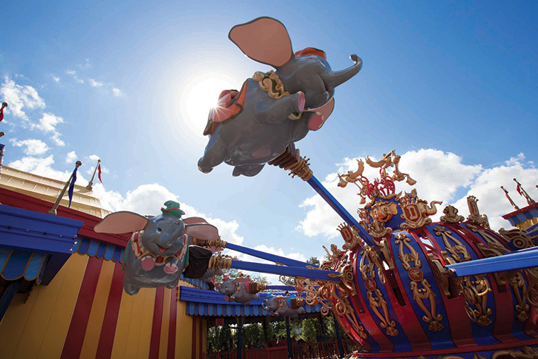 """Guests take a spin on """"Dumbo, the Flying Elephant"""" at Magic Kingdom Park; Courtesy of Walt Disney World"""