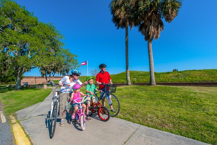 Family bike ride at fort Pulaski in Tybee Island; Courtesy of Visit Tybee Island
