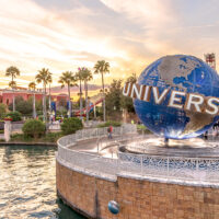 Universal Studios globe located at the entrance to the theme park; Courtesy of Chansak Joe/Shutterstock