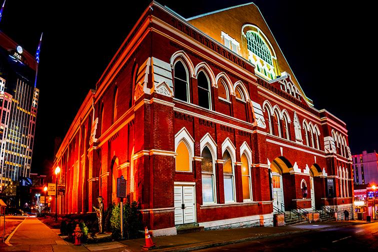 Ryman Auditorium at night; Courtesy of Philip Rozenski/Shutterstock