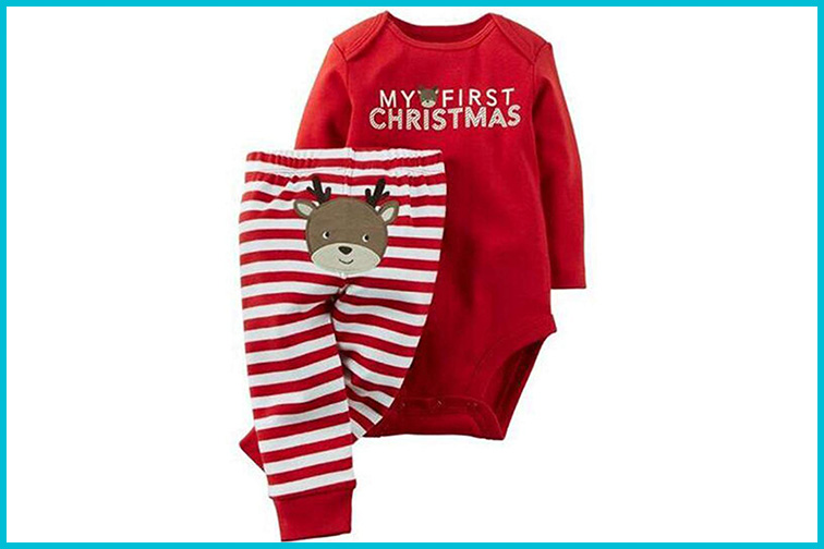 BANGELY Christmas Deer Print Long Sleeve Romper Set; Courtesy of Amazon