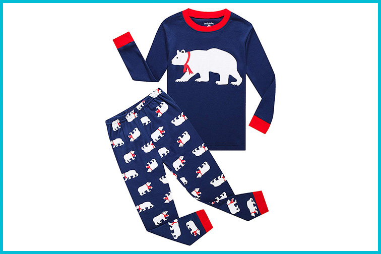 Family Feeling Christmas Bear Kids Christmas Pajamas Set; Courtesy of Amazon