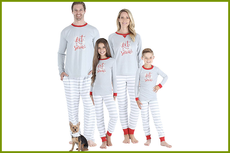 Let it Snow Matching Christmas Pajamas ; Courtesy of Amazon