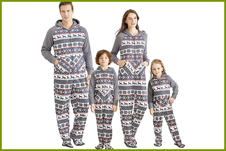 Yaffi Family Footed and Hoodie Matching Christmas Pajamas ; Courtesy of Amazon