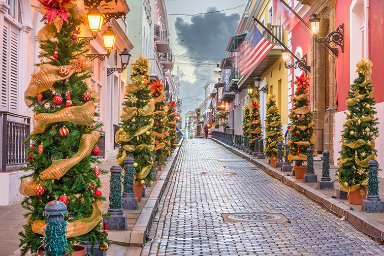 puerto rico decorated for the holidays; Courtesy of Sean Pavone /Shutterstock