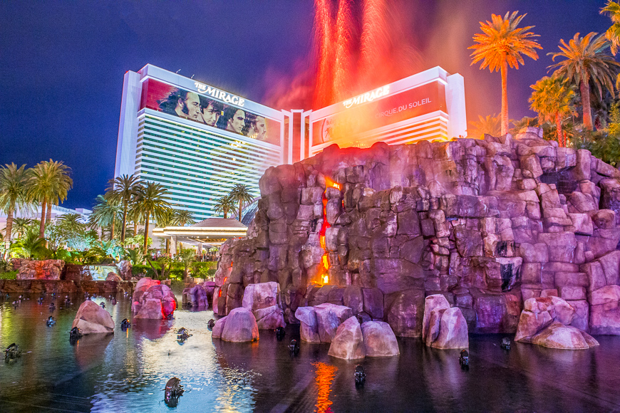 Mirage Hotel artificial Volcano Eruption show in Las Vegas ; Courtesy of Kobby Dagan /Shutterstock