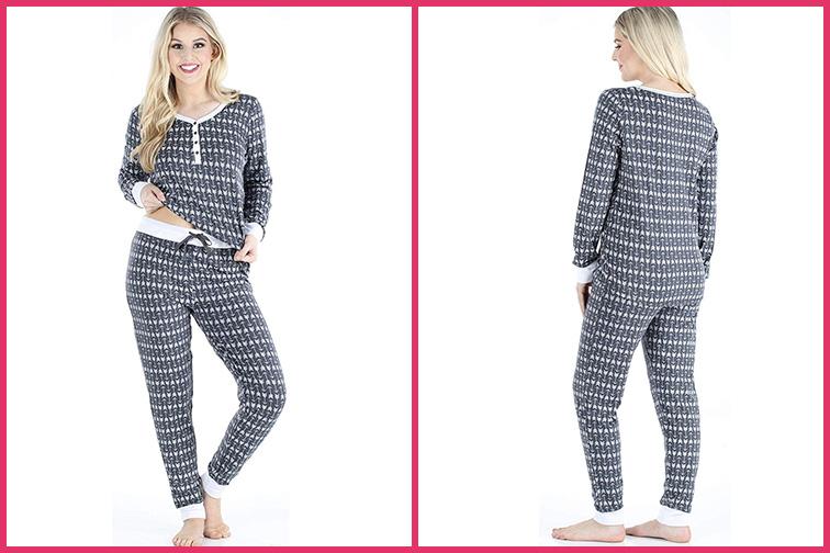 Sleepyheads Women's Knit Long Sleeve Henley and Pant Pajama Set; Courtesy of Amazon