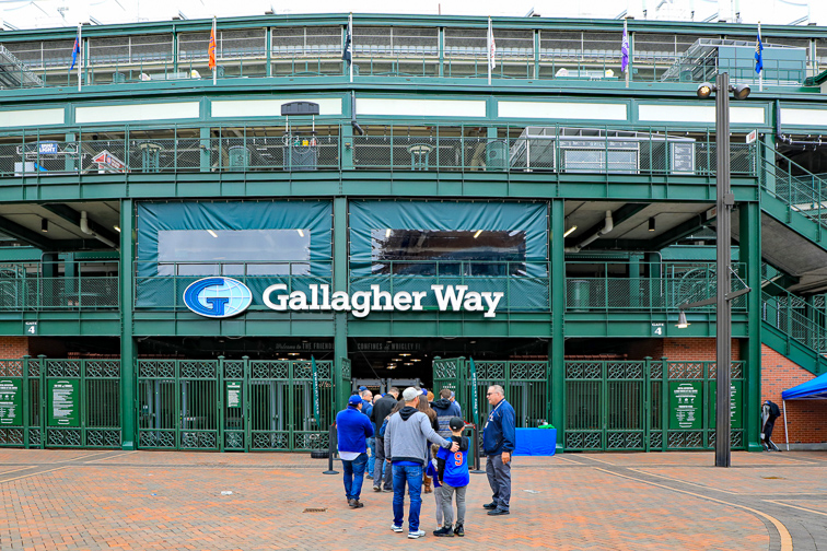 he new Gallagher Way Park at Wrigley Field, on Clark Street, is a gathering place for families, for special events, or pregame festivities.	;	Courtesy of	Thomas Barrat	/Shutterstock