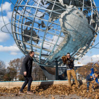 family plays near Flushing Meadows Park in Queens ;Courtesy of NYC & Company