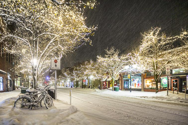 Traverse City, MI at night; Courtesy of Gary Richard Ennis/Shutterstock