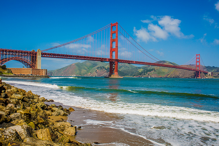 Crissy Field Beach, San Francisco; Courtesy of Aeypix/Shutterstock