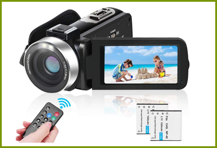 LAIDUOAO 2.7K Video Camcorder with Remote; Courtesy of Amazon