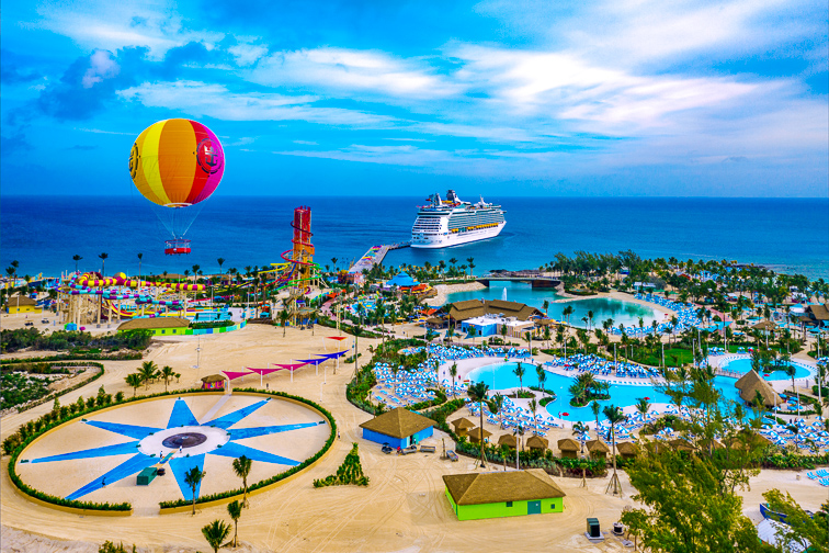 royal caribbean ship in Beautiful CocoCay island; Courtesy of Royal Caribbean