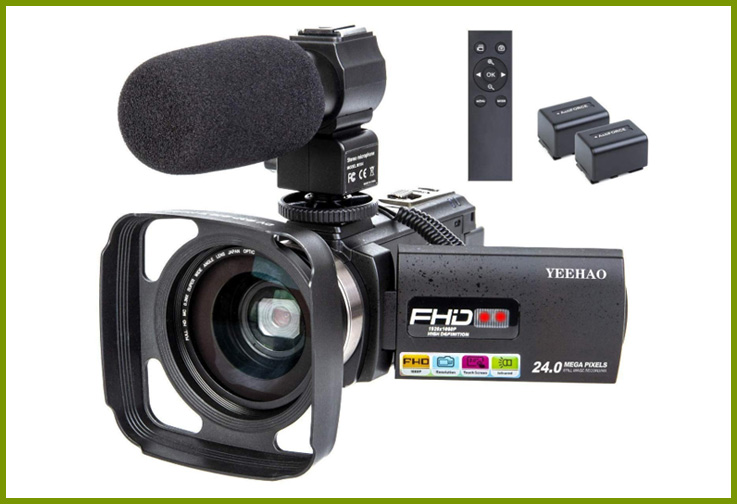 YEEHAO WiFi 1080P HD Camcorder with External Microphone; Courtesy of Amazon