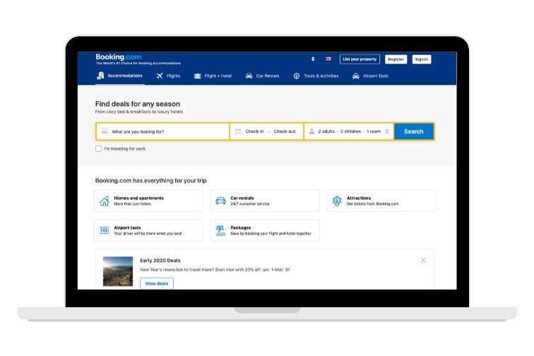 booking.com screenshot on laptop