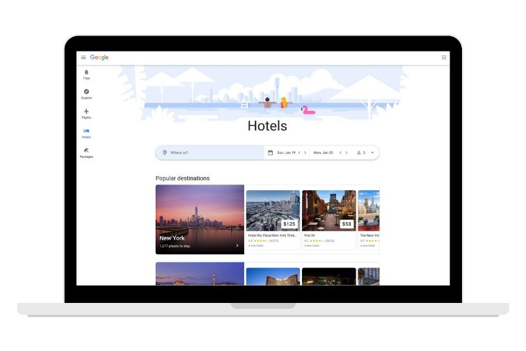 Google travel screenshot