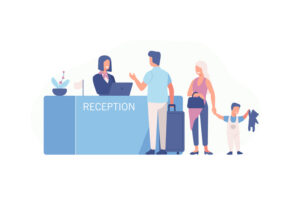 hotel reception family check in graphic