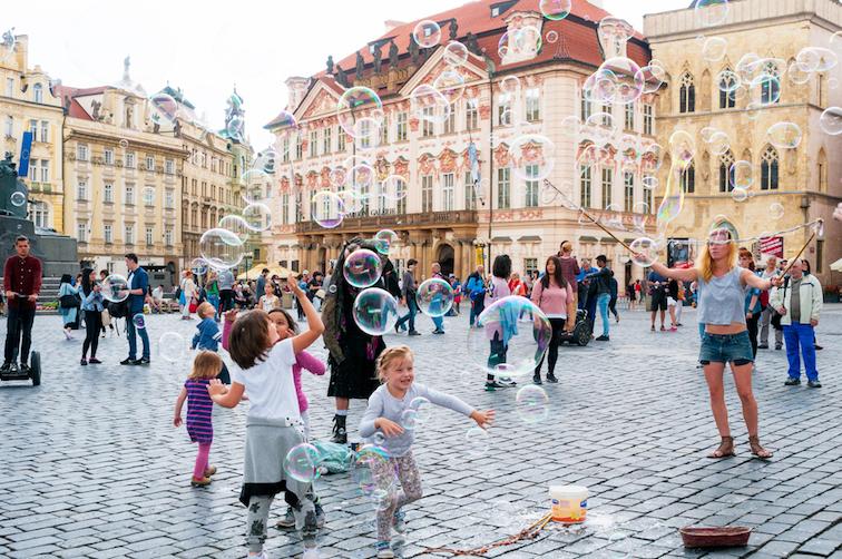 children playing in Prague