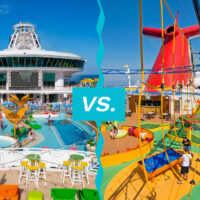 lido decks for royal caribbean and carnival cruise ships; Courtesy of Royal Caribbean and Carnival