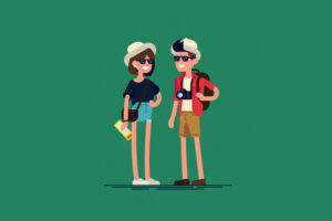 two tourists sightseeing; Courtesy of Shutterstock
