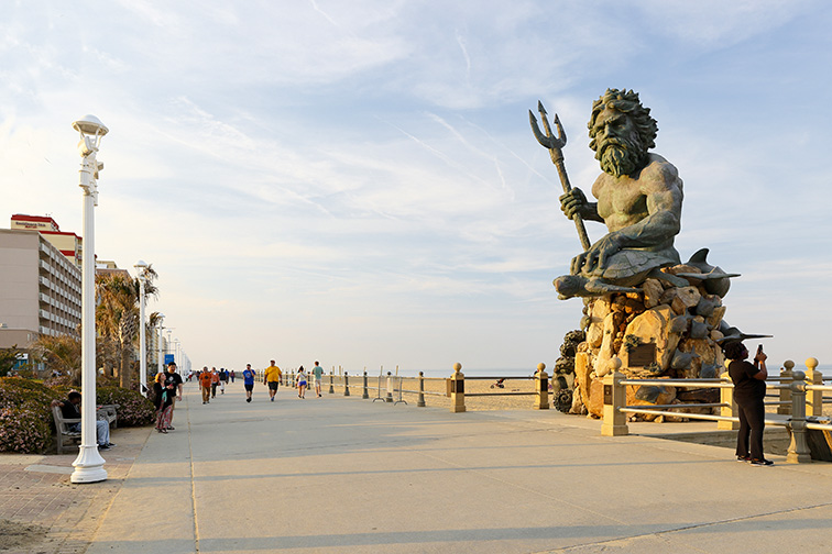 King Neptune Statue at Virginia Beach Before Sunset.; Courtesy of Jay Yuan/Shutterstock