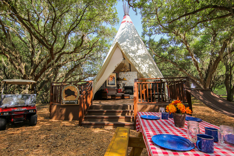 Luxe Teepee at the Westgate River Ranch Resort & Rodeo; Courtesy of the Westgate River Ranch Resort & Rodeo
