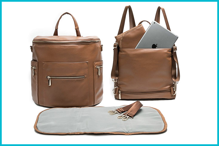 Miss Fong Synthetic Leather Diaper Bag Backpack; Courtesy Amazon