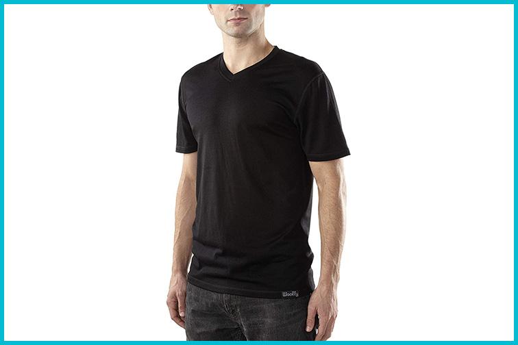 Woolly Clothing Merino Wool V-Neck T-Shirt; Courtesy Amazon