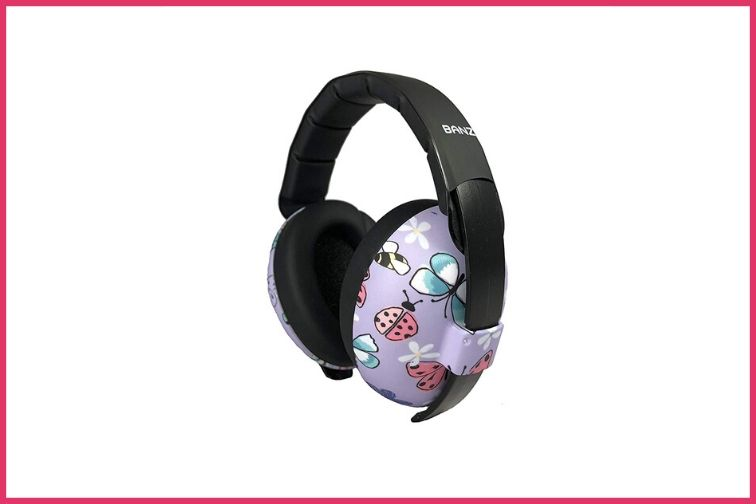 Baby Banz Headphones, with purple, lady bugs, and butterflies