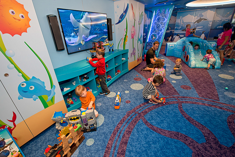 Children play in Camp Ocean onboard the Carnival Vista. The largest and most innovative cruise vessel in Carnival Cruise Line's fleet, Carnival Vista measures 133,500 tons, 1,055 feet long and has a guest capacity of almost 4,000 passengers. Photo by Andy Newman/Carnival Cruise Line; Courtesy Carnival